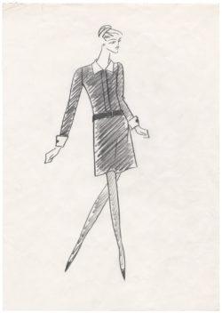 Croquis de robe pour Catherine Deneuve dans le film Belle de Jour, 1967, © Musée Yves Saint Laurent Paris / Sophie Carre