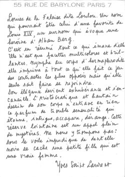 Handwritten note about Loulou de la Falaise by Yves Saint Laurent., © Musée Yves Saint Laurent Paris