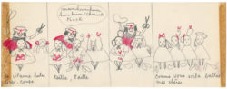 Original storyboard for La Vilaine Lulu, entitled Lulu coiffeur, storyboard 2/3, 1956., © Musée Yves Saint Laurent Paris