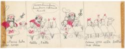 Planche originale de La Vilaine Lulu, intitulée Lulu coiffeur, planche 2/3, 1956., © Musée Yves Saint Laurent Paris
