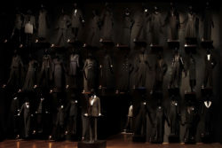 "Retrospective at the Petit Palais-Musée des Beaux-Arts de la ville de Paris, view of the ""Wall of Tuxedoes,"" Paris, 2010. Photographie de Sophie Carre., © Musée Yves Saint Laurent Paris / Sophie Carre (2009)"