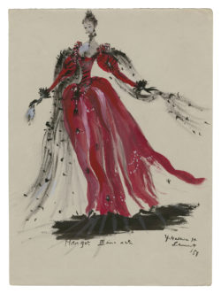 Sketch of a costume (never made) for Queen Margot, based on the novel La Reine Margot by Alexandre Dumas, 1953., © Musée Yves Saint Laurent Paris