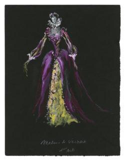 Croquis de costume (non réalisé) pour Madame de Vermont, dans la pièce La Reine Margot, d'après le roman éponyme d'Alexandre Dumas, 1953, Musée Yves Saint Laurent Paris, © Fondation Pierre Bergé - Yves Saint Laurent / Tous droits réservés