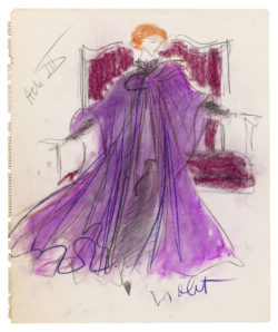 Sketch of a costume for Edwige Feuillère in the role of Mrs. Patrick Campbell in Act III of the play Cher Menteur (Dear Liar) by Jean Cocteau, directed by Jérôme Kilty at the Théâtre de l'Athénée - Louis Jouvet, Paris 1980., © Musée Yves Saint Laurent Paris