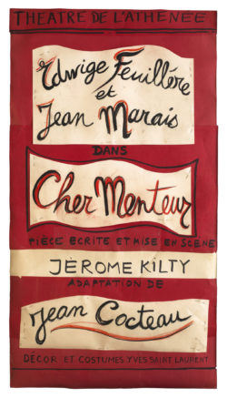 Poster design for the play Cher Menteur (Dear Liar) by Jean Cocteau, directed by Jérôme Kilty at the Théâtre de l'Athénée - Louis Jouvet, Paris, 1980., © Musée Yves Saint Laurent Paris