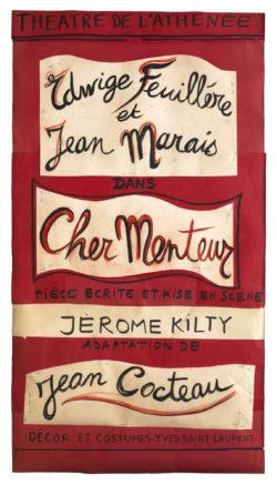 Projet d'affiche de la pièce Cher Menteur de Jean Cocteau, mise en scène par Jérôme Kilty au théâtre de l'Athénée – Louis Jouvet, Paris, 1980., © Musée Yves Saint Laurent Paris