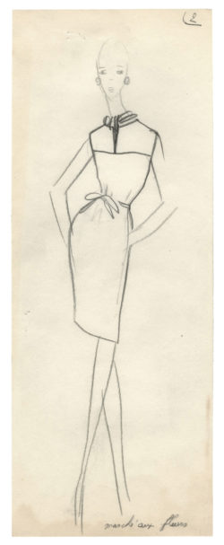 Sketch of a costume for the film Moment to Moment, directed by Mervyn LeRoy in 1965 and based on the novel Laughs with a Stranger by Alec Coppel., © Musée Yves Saint Laurent Paris