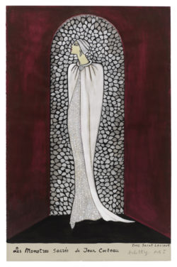 Sketch of a costume for Arletty in the role of Esther in Act I of the play Les Monstres sacrés (Sacred Monsters) by Jean Cocteau, directed by Henri Rollan at the Théâtre des Ambassadeurs, Paris, 1966., © Musée Yves Saint Laurent Paris