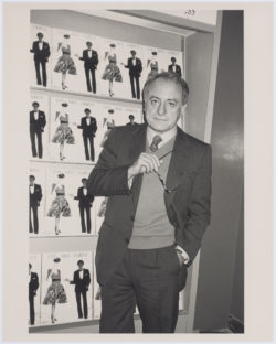 Pierre Bergé in the boutique for the exhibition devoted to Yves Saint Laurent, Metropolitan Museum, New York, December 1983. Photograph by Roxanne Lowit., © Roxanne Lowit