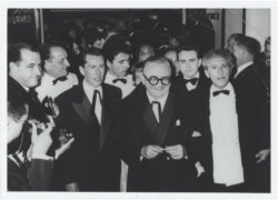 Maurice Druon, Bernard Buffet, Édouard Dermit, Madame David (wife of the gallery owner Emmanuel David), Marcel Achard, Pierre Bergé, and Jean Cocteau at the Festival de Cannes, 1958. Photograph by C. Wehrlé., © C. Wehrlé - DR