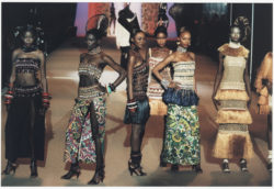 Six designs in homage to Bambara art. Spring-summer 1967 haute couture collection. The last fashion show, Centre Pompidou, Paris, January 22, 2002., © Droits Réservés