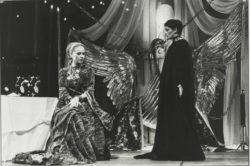 Edwige Feuillère as the Queen and Martine Chevallier as Edith de Berg in Act I of L'Aigle à deux têtes (The Eagle with Two Heads), directed by Jean-Pierre Dusseaux, Théâtre de l'Athénée-Louis Jouvet, Paris, 1978., © Droits Réservés