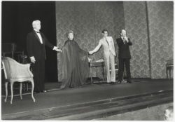 Jean Marais, Edwige Feuillère, Yves Saint Laurent, and the director Jérôme Kilty at the end of a performance of the play Cher Menteur (Dear Liar), Théâtre de l'Athénée-Louis Jouvet, Paris, 1980., © Droits Réservés