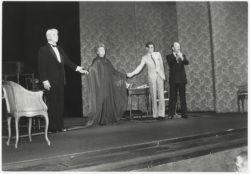Jean Marais, Edwige Feuillère, Yves Saint Laurent et le metteur en scène Jérôme Kilty à la fin d'une représentation de la pièce Cher Menteur, Théâtre de l'Athénée – Louis Jouvet, Paris, 1980., © Droits Réservés