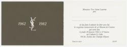Carton d'invitation pour les 20 ans de la maison de couture., © Musée Yves Saint Laurent Paris