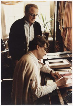 "Pierre Bergé and Yves Saint Laurent in the library at ""Château Gabriel,"" Bénerville-sur-Mer. Photograph by François-Marie Banier., © François-Marie Banier"