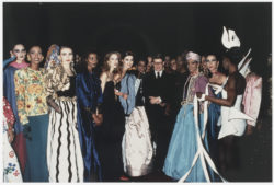 Yves Saint Laurent surrounded by his models at the thirtieth anniversary of the haute couture house, Opéra Bastille, February 3, 1992., © Droits Réservés