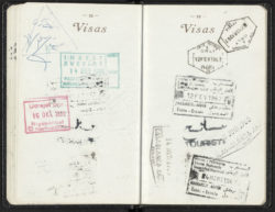 Yves Saint Laurent's passport charting his travels in the 1960s., © Musée Yves Saint Laurent Paris