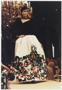 """Evening gown, homage to Fernand Léger, at the fashion show for the autumn-winter 1981 haute couture collection, Salon impérial of the Hôtel Inter-Continental, Paris, July 1981. Photograph by François-Marie Banier., © François-Marie Banier"