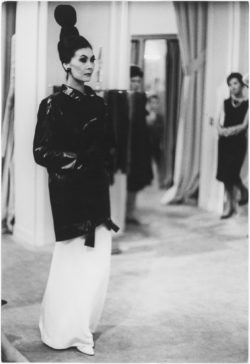 First trench coat worn by Alla Illitchoum, autumn-winter 1962 haute couture collection, the salons at 30 bis rue Spontini, Paris, July 1962. Photograph by Sharock Hatami., © Hatami