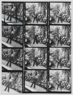 First pantsuit, worn by Ulla. Spring-summer 1967 haute couture collection. Jardin des Serres d'Auteuil, Bois de Boulogne, Paris. Contact sheet by Jean-Paul Cadé., © Musée Yves Saint Laurent Paris / Jean-Paul Cadé - DR