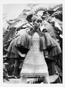 Evening ensemble worn by Danielle Luquet de Saint Germain. Spring-summer 1967 haute couture collection. Jardin des Serres d'Auteuil, Bois de Boulogne, Paris. Photograph by Jean-Paul Cadé., © Musée Yves Saint Laurent Paris / Jean-Paul Cadé - DR