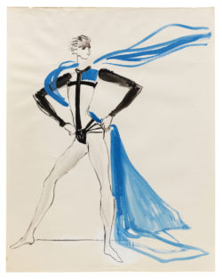 Sketch of a costume for Phoebus in the ballet Notre-Dame de Paris, choreographed by Roland Petit at the Palais Garnier, Opéra de Paris, 1965., © Musée Yves Saint Laurent Paris