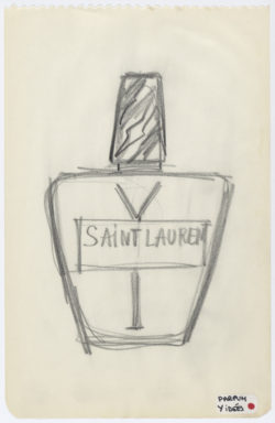 Research sketch of the bottle for the fragrance Y, 1964, © Musée Yves Saint Laurent Paris