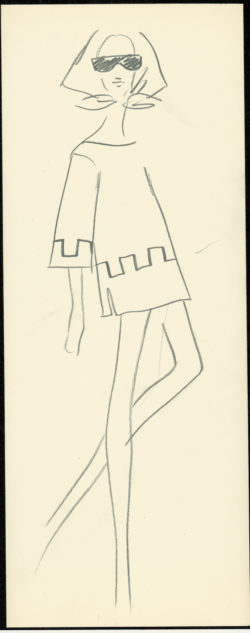 Original sketch of a daytime dress. Spring-summer 1967 SAINT LAURENT rive gauche collection., © Musée Yves Saint Laurent Paris
