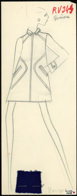 Croquis original d'un manteau. Collection SAINT LAURENT rive gauche printemps-été 1968., © Musée Yves Saint Laurent Paris
