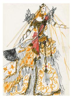 Croquis de costume pour la reine à l'acte I de la pièce L'Aigle à deux têtes de Jean Cocteau, mise en scène par Jean-Pierre Dusseaux au théâtre de l'Athénée – Louis Jouvet, 1978., © Musée Yves Saint Laurent Paris