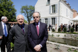 Jean-Paul Huchon, Pierre Bergé, and Frédéric Mitterrand at the inauguration of the Maison Jean Cocteau, Milly-la-Forêt, June 24, 2010. Photograph by Michel Giniès., © GINIES/SIPA