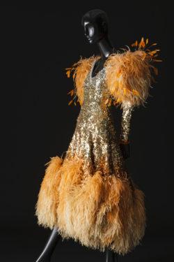 """Stage dress for Zizi Jeanmaire for the """"Je cherche un homme"""" act in the music hall show La Revue, directed by Roland Petit at the Casino de Paris, 1970, © Musée Yves Saint Laurent Paris / Sophie Carre"""