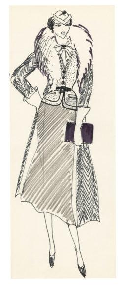 Croquis de costume pour Anny Duperey dans le rôle d'Arlette dans le film Stavisky, réalisé par Alain Resnais en 1974., © Musée Yves Saint Laurent Paris