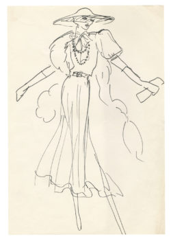 Sketch of a costume for Anny Duperey in the role of Arlette in the film Stavisky, directed by Alain Resnais in 1974., © Musée Yves Saint Laurent Paris