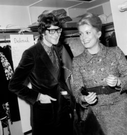 Catherine Deneuve and Yves Saint Laurent backstage at the fashion show for the spring-summer 1968 haute couture collection, Hôtel Inter-Continental, Paris, January 29, 1968, © AGIP/Bridgeman Images