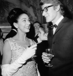 Margot Fonteyn and Yves Saint Laurent at the premiere of the opera Tosca by Giacomo Puccini, Opéra Garnier, Paris, February 20, 1965., © AGIP/Bridgeman Images
