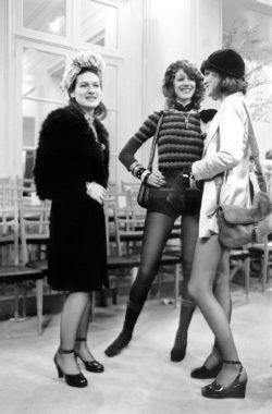 Paloma Picasso, Marisa Berenson, and Loulou de La Falaise at the fashion show for the spring-summer 1971 haute couture collection, the salons at 30 bis rue Spontini, Paris, January 29, 1971., © AGIP/Bridgeman Images