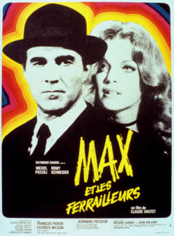 Michel Piccoli and Romy Schneider in the poster for the film Max et les ferrailleurs (Max and the Junkmen) by Claude Sautet, 1971., © Bridgeman Images