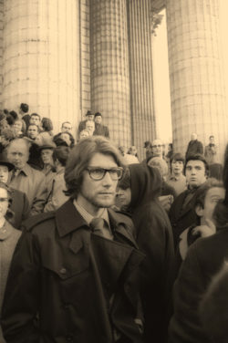 Yves Saint Laurent after the funeral of Coco Chanel, Église de La Madeleine, Paris, January 15, 1971., © Musée Yves Saint Laurent Paris / Guy Marineau