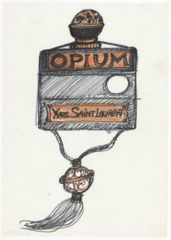 Research sketch for the bottle of the fragrance Opium, 1977., © Musée Yves Saint Laurent Paris