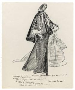 Croquis du costume d'académicienne de Marguerite Yourcenar, 1981., © Musée Yves Saint Laurent Paris