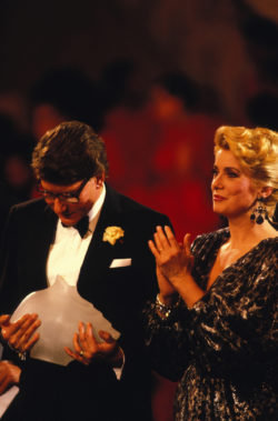 "Yves Saint Laurent and Catherine Deneuve at the ""Oscars de la Mode,"" Opéra Garnier, Paris, October 23, 1985., © Pool Apesteguy/Sola/Gamma-Rapho"