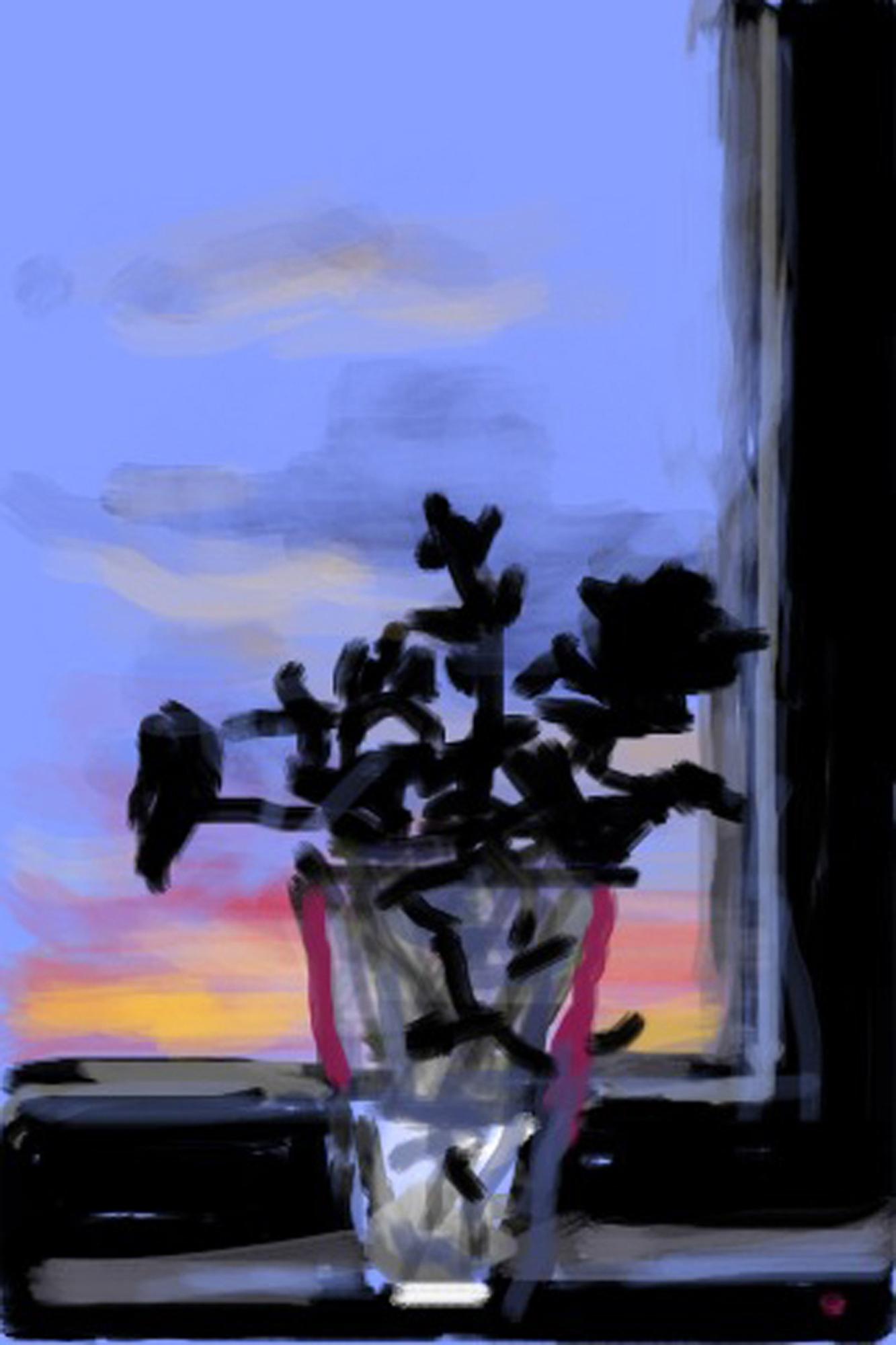 David Hockney : Fleurs fraîches, Dessins sur iPhone et