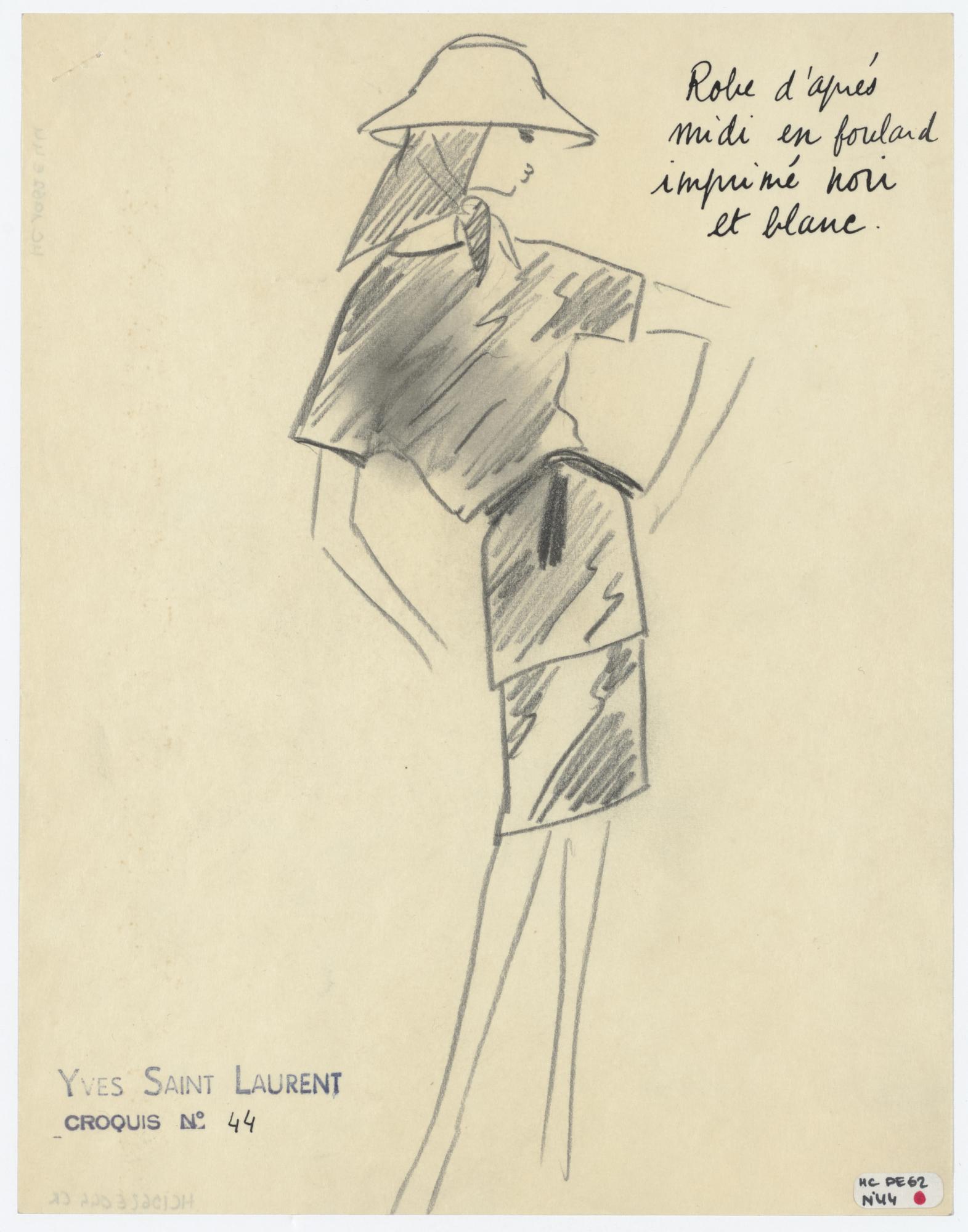 ea97e1bf4e0 Original sketch of an afternoon dress. Spring-summer 1962 haute couture  collection. © Musée Yves Saint Laurent Paris