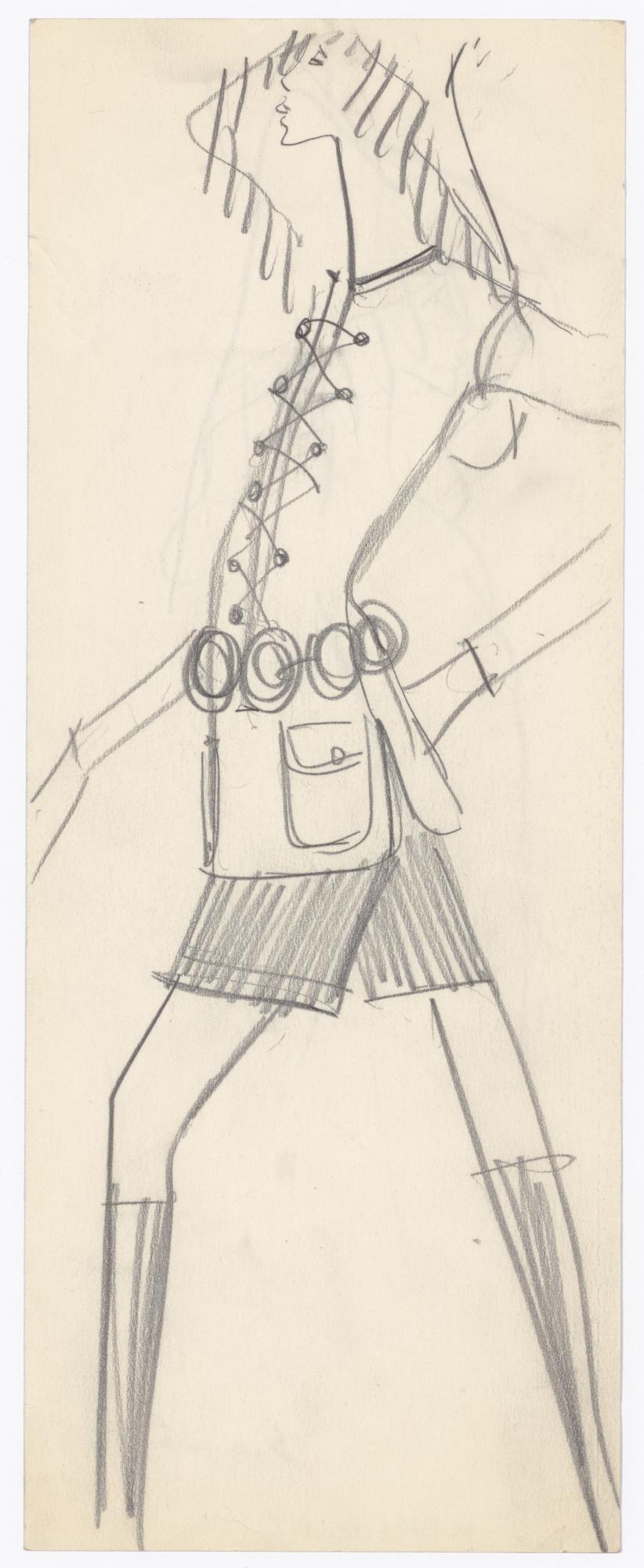 41b173e351d Original sketch of a safari jacket. Spring-summer 1968 haute couture  collection. © Musée Yves Saint Laurent Paris