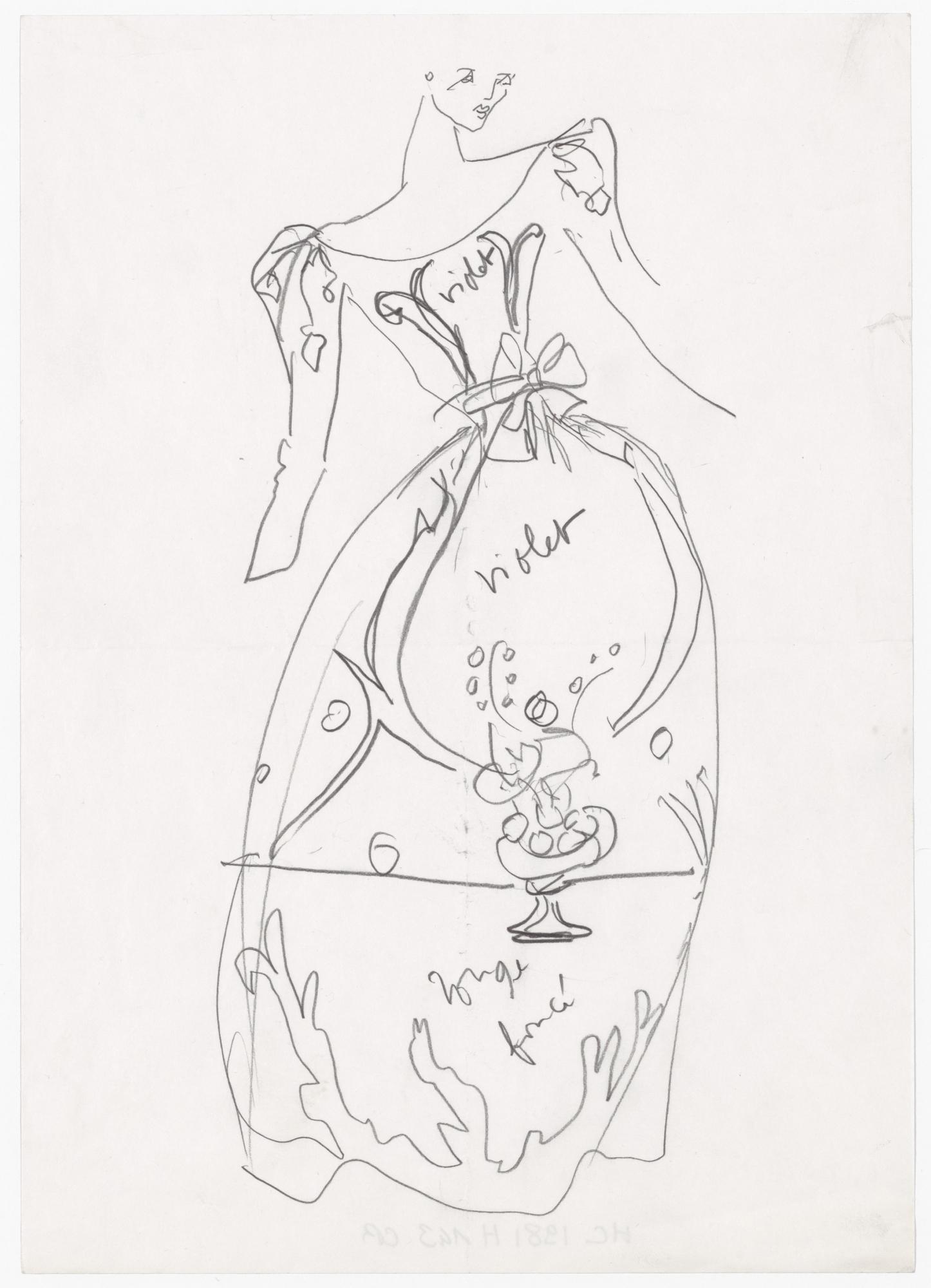 29518467aa6 Original sketch of a dress inspired by Henri Matisse. Autumn-winter 1981  haute couture collection. © Musée Yves Saint Laurent Paris