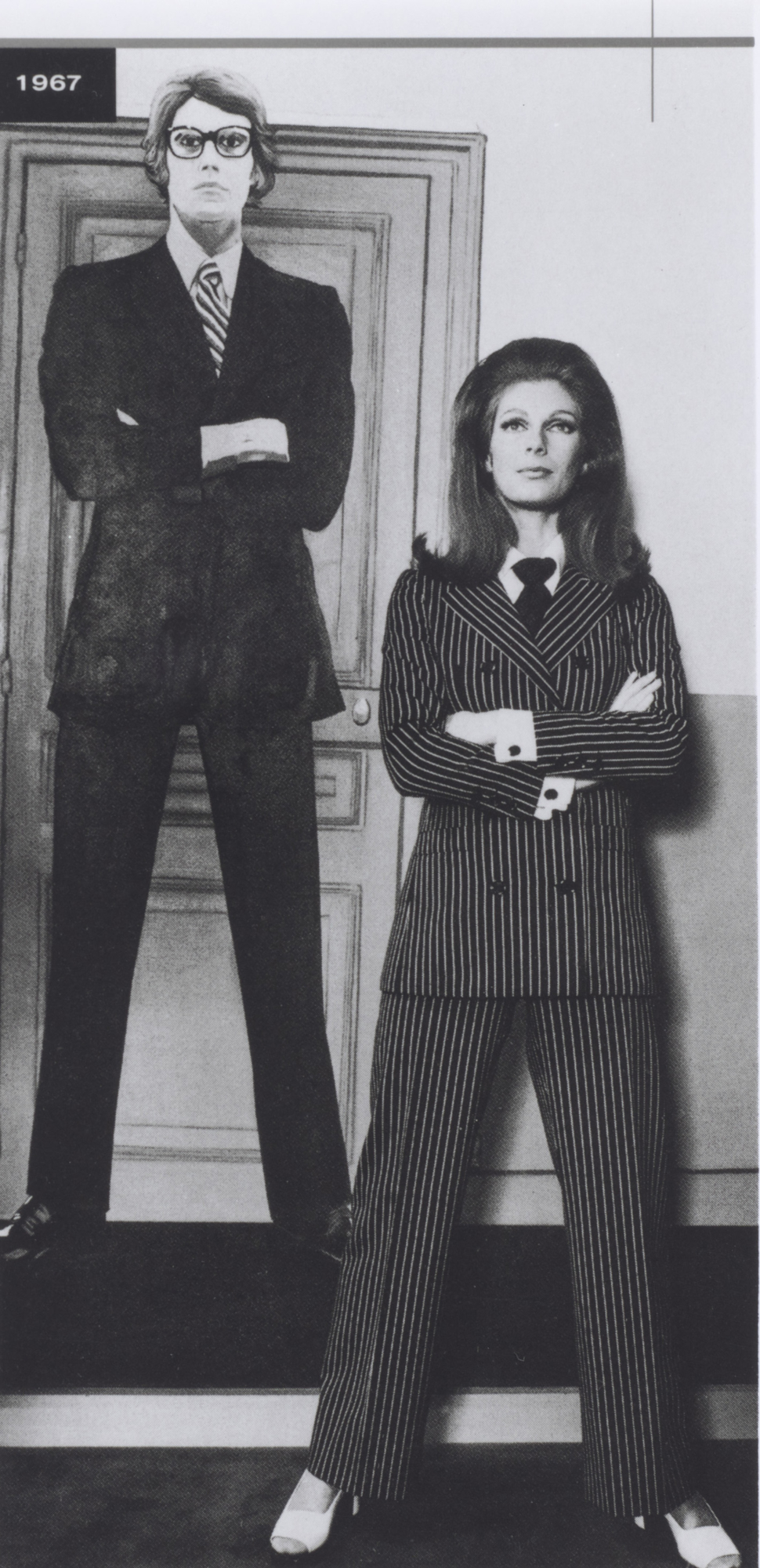 101bb92f379 First pantsuit, worn by Ulla. Spring-summer 1967 haute couture collection.  Jardin des Serres d'Auteuil, Bois de Boulogne, Paris. Contact sheet by  Jean-Paul ...