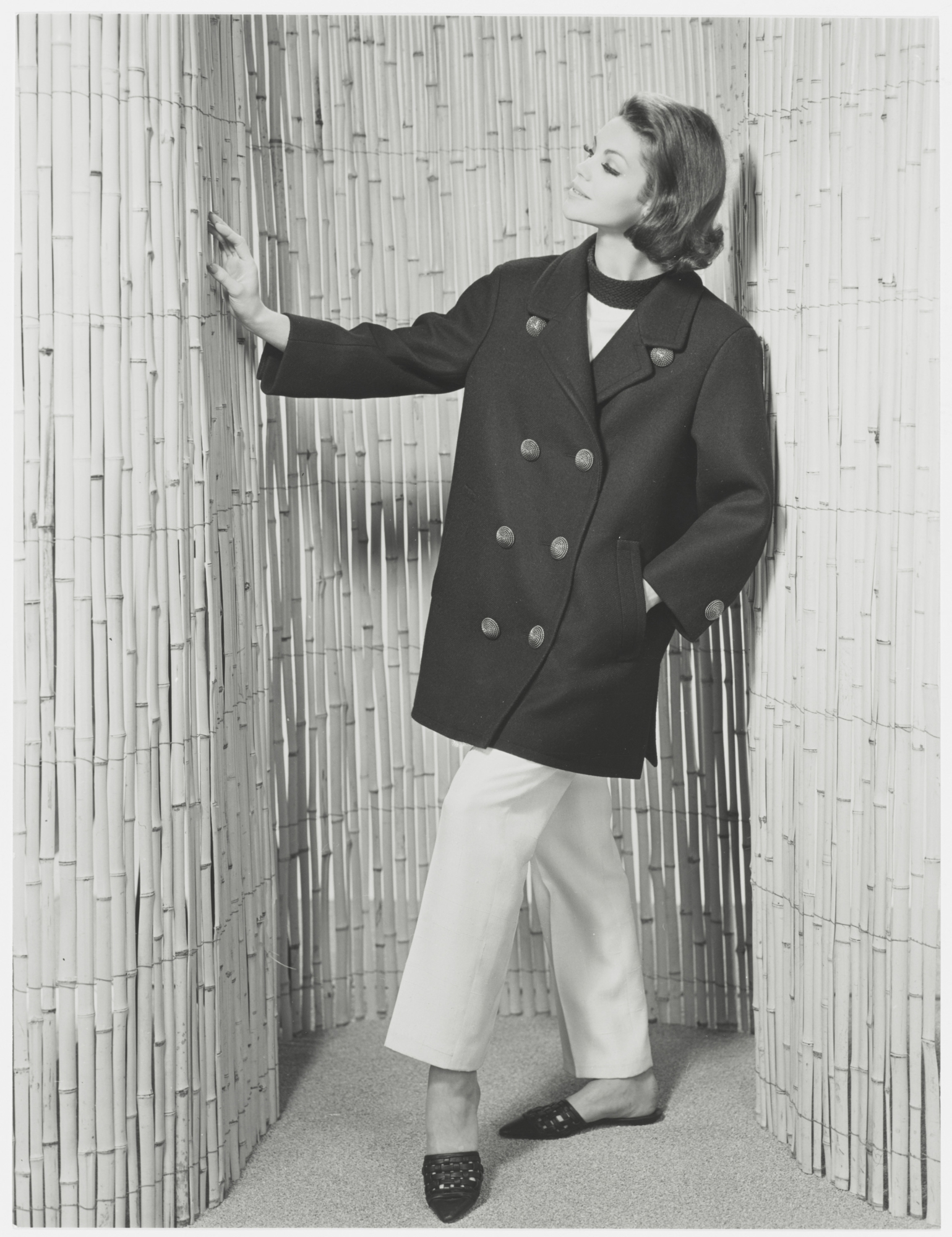 92c1a174546 First pea coat. Spring-summer 1962 haute couture collection. Photograph by  the Séeberger brothers.