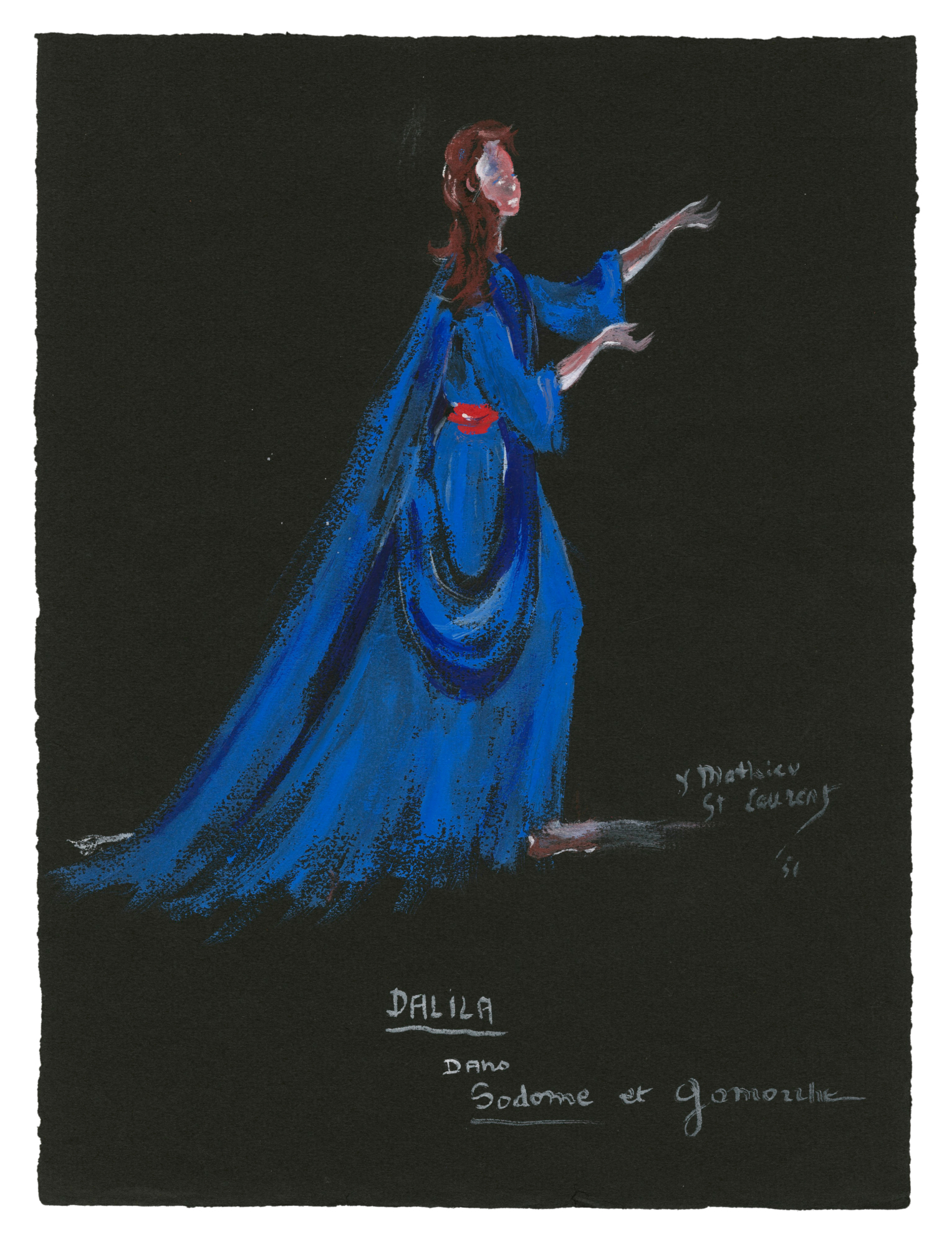 "1301197ec1d9 Costume sketch for ""Dalila"" in the play Sodome et Gomorrhe (Sodom and  Gomorrah) by Jean Giraudoux, 1951, Musée Yves Saint Laurent Paris ©  Fondation Pierre ..."